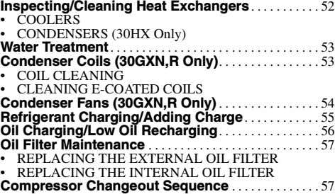 Inspecting/Cleaning Heat Exchangers 52 • COOLERS • CONDENSERS (30HX Only) Water . Condenser Coils (30GXN,R