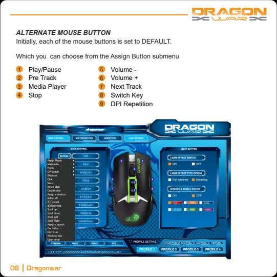 ALTERNATE MOUSE BUTTON Initially, each of the mouse buttons is set to DEFAULT. Which you