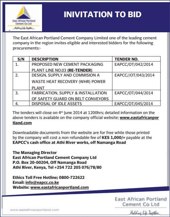 REQUEST FOR EXPRESSIONS OF INTEREST GENERAL CIVIL AND INSTALLATION OF PAVING BLOCKS WORKS. INIVITATION TO