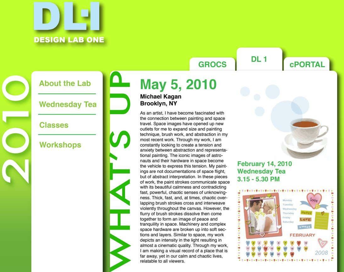 DLI DESIGN LAB ONE DL 1 GROCS cPORTAL About the Lab May 5, 2010 Wednesday