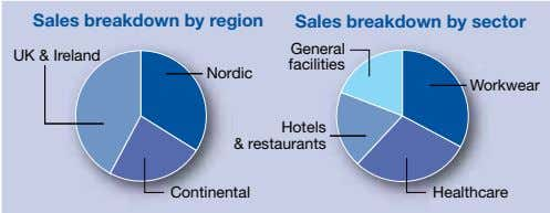Sale s breakdown by region Sale s breakdown by s ector General UK & Ireland