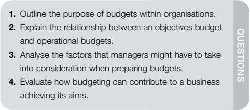 QUESTIONS 1. Outline the purpose of budgets within organisations. 2. Explain the relationship between an