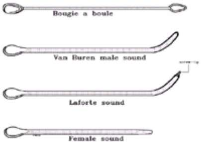 the normal urethra to accommodate larger instruments. FIG. 3-3. Top to bottom: Rigid metal urethral instruments