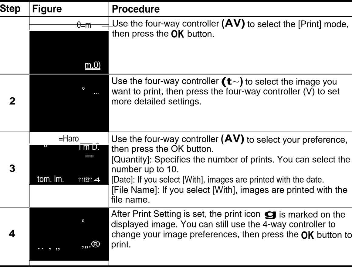 Step Figure Procedure 0=m Use the four-way controller (AV) to select the [Print] mode, then