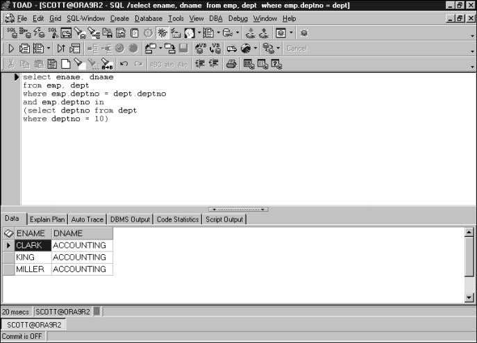 42 CHAPTER 3 TOAD SQL Editor FIGURE 3.1 TOAD SQL Editor window. This illustration shows the