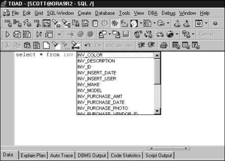 the correct list of columns. See Figure 3.20. Shift+Ctrl+T ignores the alias request. FIGURE 3.18 TOAD