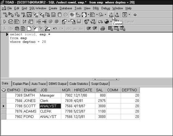 exit the column you have edited before committing the data. FIGURE 3.37 Changing data values in