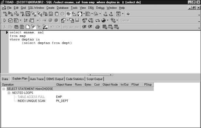 70 CHAPTER 3 TOAD SQL Editor FIGURE 3.41 TOAD explain plans. Problem Solving the Explain Plan