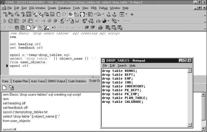 The output from this command appears in the Notepad window. FIGURE 3.47 DROP TABLE SQL-Creating-SQL script.