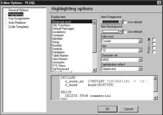 Ctrl+F12. Figure 3.6 shows some work in the Notepad editor. FIGURE 3.4 TOAD SQL Editor Options.