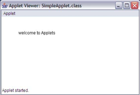 E:\java programs>appletviewer SimpleApplet.java SARADA INSTITUTE OF TECHNOLOGY & SCIENCE SARADA NAGAR,