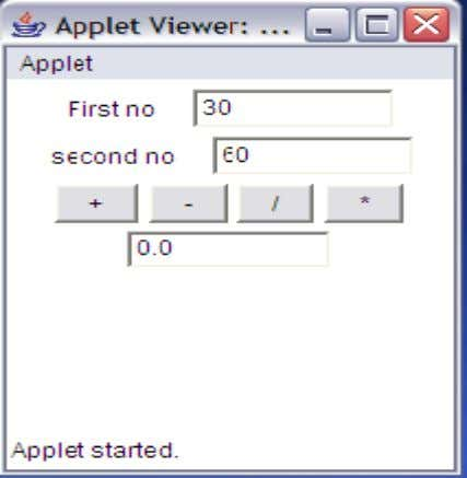 E:\java programs>appletviewer Calculator.java SARADA INSTITUTE OF TECHNOLOGY & SCIENCE SARADA NAGAR,