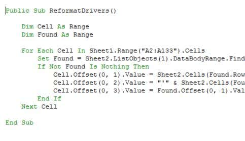 my color options in VBA so it stands out a little better. There's no requirement to