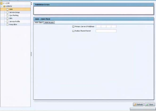 The Template Configuration Editor 4.4.2.1.1 AAA Client Tab Figure 4-3: The ASN-GW Template - AAA Page