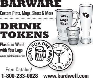 BARWARE Custom Pints, Mugs, Shots & More DRINK TOKENS Plastic or Wood with Your Logo