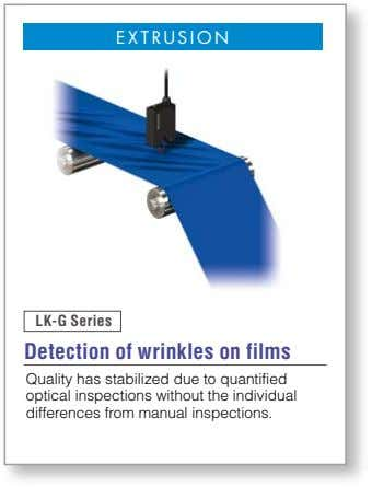 EXTRUSION LK-G Series Detection of wrinkles on films Quality has stabilized due to quantified optical