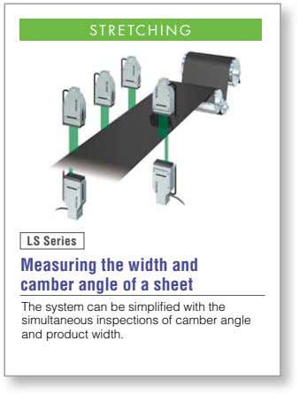STRETCHING LS Series Measuring the width and camber angle of a sheet The system can