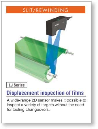 SLIT/REWINDING LJ Series Displacement inspection of films A wide-range 2D sensor makes it possible to
