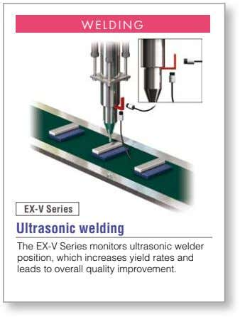 WELDING EX-V Series Ultrasonic welding The EX-V Series monitors ultrasonic welder position, which increases yield