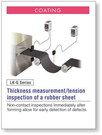 COATING LK-G Series Thickness measurement/tension inspection of a rubber sheet Non-contact inspections immediately