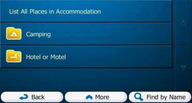 or Motel) or tap Places in the selected main category around the selected location or along