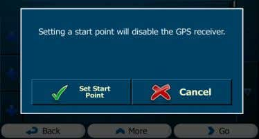 GPS position. Tap your action at the warning message. and confirm 5. The Destination menu appears