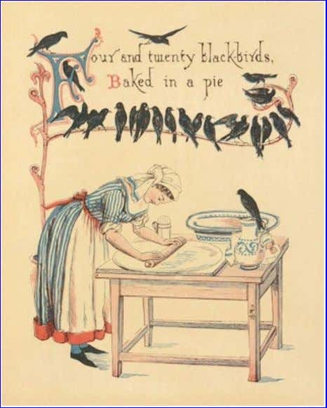 eBook of The Song Of Sixpence Picture Book, by Walter Crane. Four and twenty black-birds, Baked