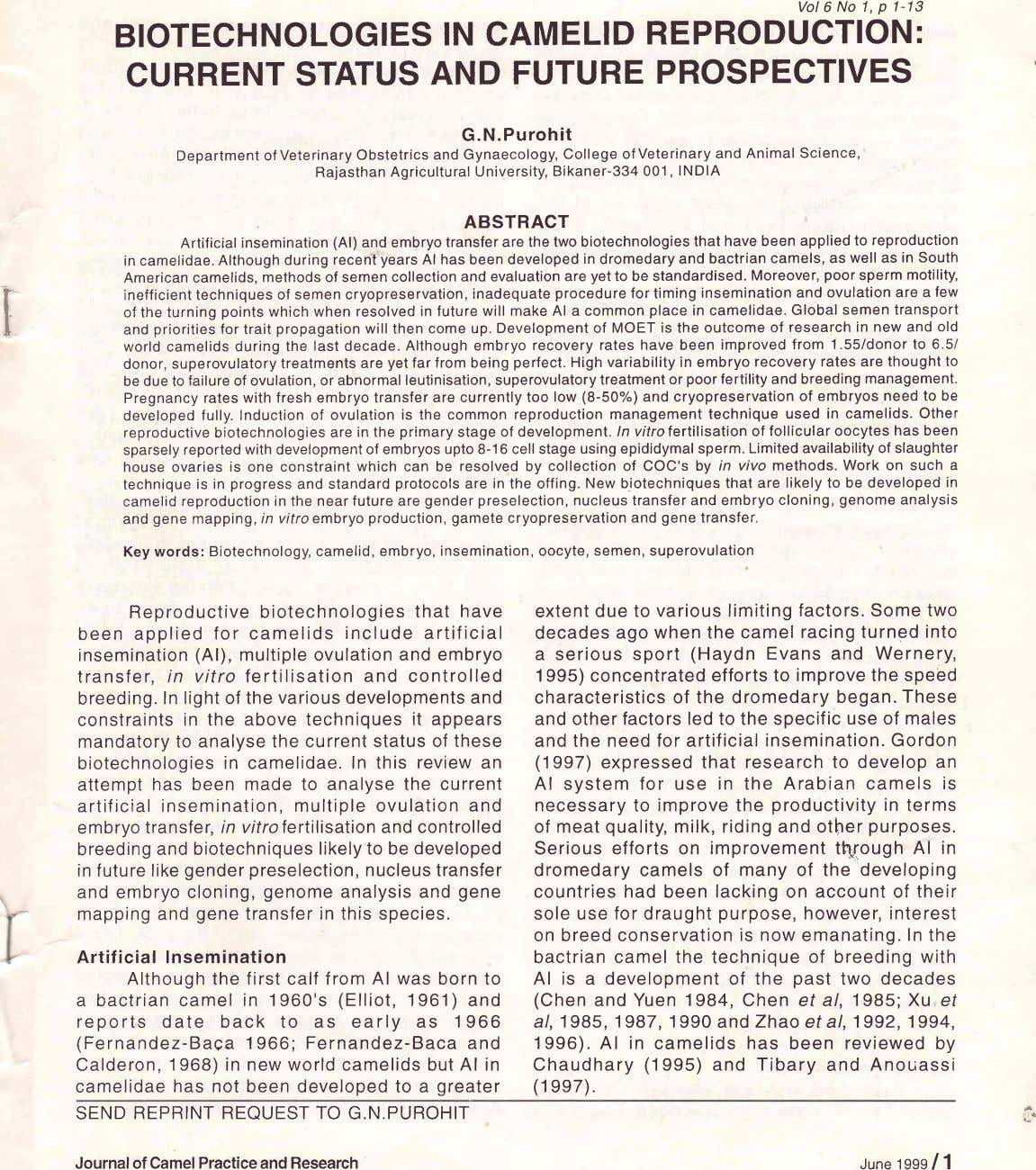 Vol 6 No 1, p 1-13 BIOTECHNOLOGIES IN CAMELID REPRODUCTION: CURRENT STATUS AND FUTURE PROSPECTIVES