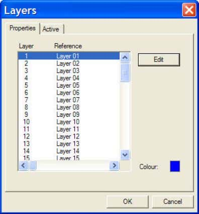 "The ""Active"" tab has two formats: Layers can be displayed either by their numbers or by"