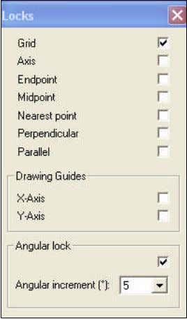 " ""Locks"") Pops-up the following window: Locks are used to force points placed during drawing"