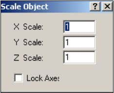 "you can enter the scale factors for the x, y and z axes. The ""Lock Axes"""