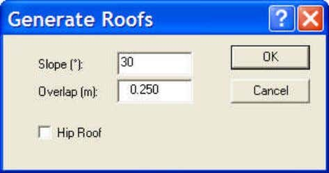 5.17. Create Roof Pops-up the following window: Creates a pitched roof over the selected space(s) with