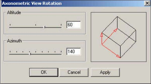 "Axonometric Rotation"") Pops-up the following window: This command allows you to define the altitude and azimuth"