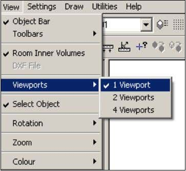"and toolbars can be switched on/off and the viewport options selected from the ""View"" pull-down menu:"