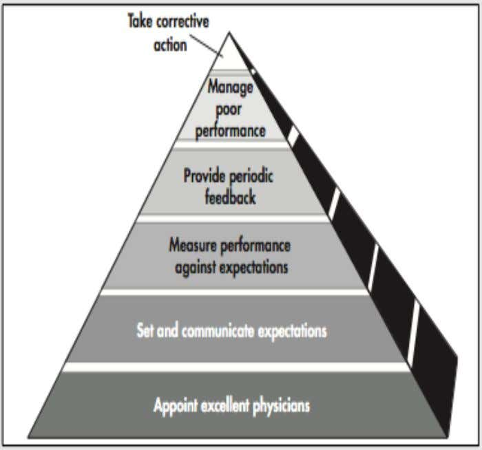 PHYSICIAN PERFORMANCE: approaches: PERFORMANCE PYRAMID MODEL • performance improvement approach • create a