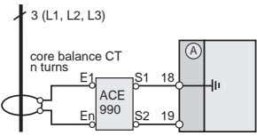 3 (L1, L2, L3) A core balance CT n turns E1 S1 18 ACE 990