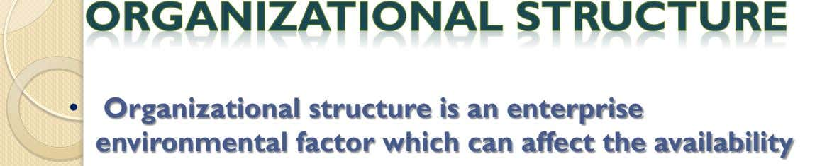 • Organizational structure is an enterprise environmental factor which can affect the availability of resources