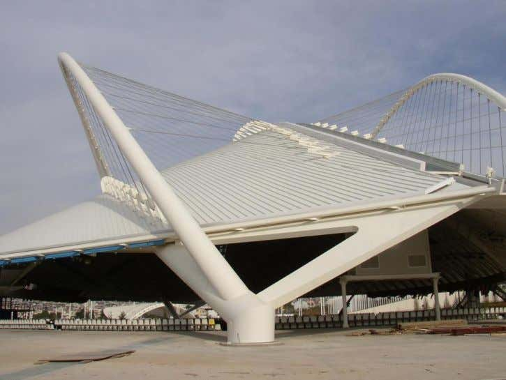 Airport hall with roof structure and columns of CHS Halls for the Athens Olympic Games (2004)