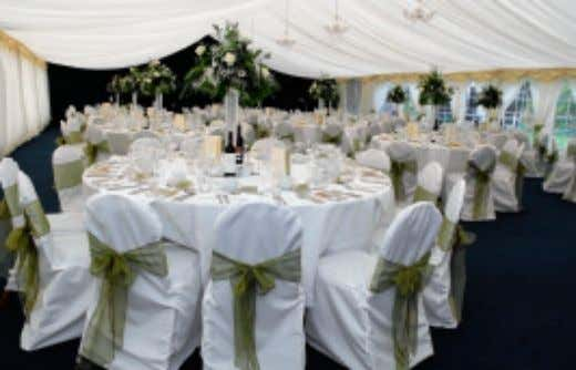 into the elegant and spacious dining room, where the ceremony takes place. After they have