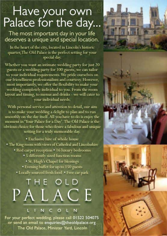 Palace Have for your the own day The most important day in your life deservesaunique