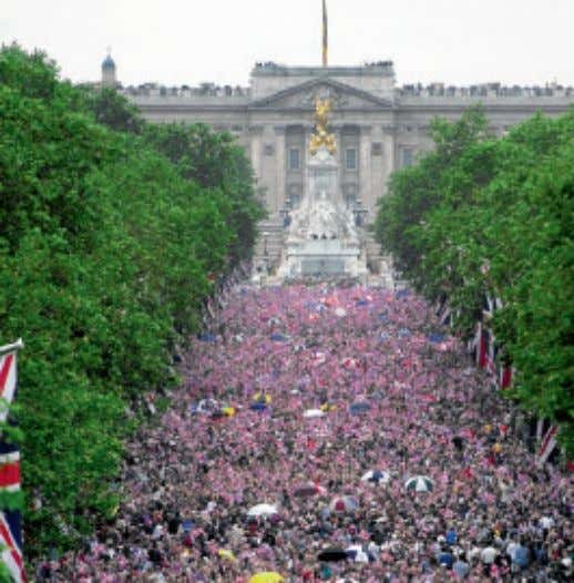Royal occasions often have crowds waiting in The Mall. This lively throng gathered for the