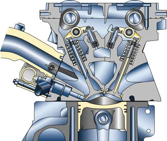 both intake and exhaust valves The geometry of the intake port reduces knock and improves running