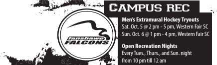 Campus rec Men's Extramural Hockey Tryouts Sat. Oct. 5 @ 2 pm - 5 pm,