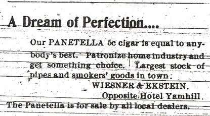 sold for five cents. Carl Fuchs' Cigar Factory in 1906. Above: An 1899 ad for Wiesner