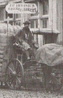 "candies ."" There is no record of his business after 1900. Above: A deliveryman sits outside"