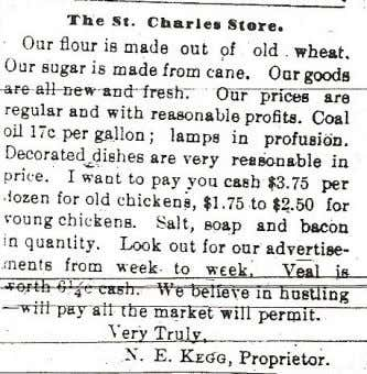 Hotel back to life. Left: 1902 advertisement for St. Charles Store Right: 1899 advertisement for St.
