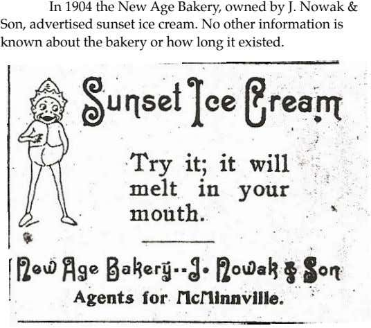 ! In 1904 the New Age Bakery, owned by J. Nowak & Son, advertised sunset
