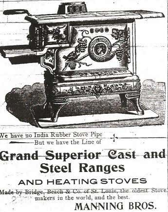 "An 1898 Manning Bros. advertisement for Bridge-Beach superior stoves, ""the oldest stove makers in the world."""