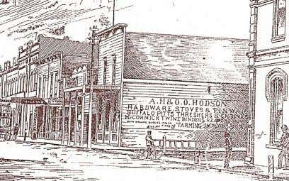 himself is seen in the 1890's photograph below left. Above: An 1880's sketch of Hodson's business