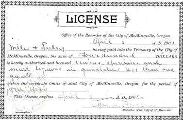 Above: An 1892 advertisement from saloon keeper W.E.Martin Below: A 1901 Liquor license for Willis and